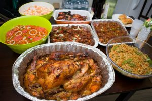 Thanksgiving Turkey and other dishes. We had Jollof rice (Nigerian delicacy), Chiang Mai Noodles, Oxtail Sauce, Coleslaw, etc